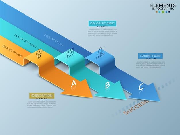 Tre frecce a nastro curve o piegate con icone a linee sottili, lettere e posto per il testo. concetto di 3 percorsi per il successo. modello di progettazione infografica moderna. illustrazione vettoriale per presentazione, brochure.