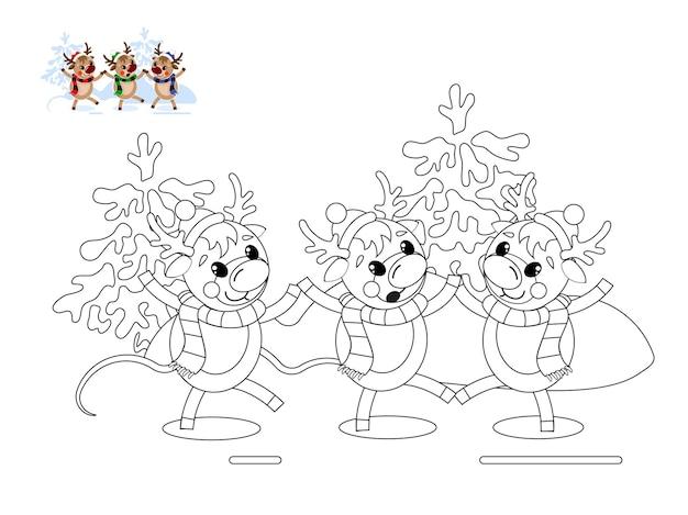 Tre simpatiche renne natalizie stanno ballando nella foresta innevata. un'immagine da colorare e un campione di colore.
