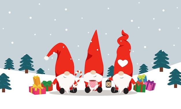 Tre simpatici gnomi che celebrano il natale insieme nel bosco innevato. sfondo invernale piatto.