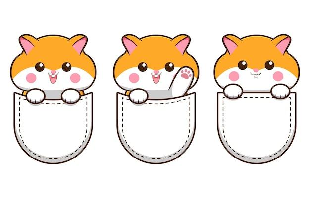 Tre simpatici criceti all'interno di tasche di t-shirt bianche cartoni animati su sfondo bianco