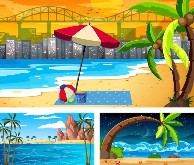 Tre diverse scene di paesaggi sulla spiaggia