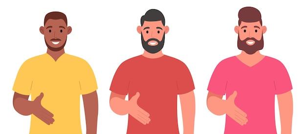 Tre diversi uomini barbuti che danno la posa della stretta di mano e sorridono con un gesto di benvenuto. set di caratteri. illustrazione vettoriale.