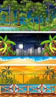 Tre scene orizzontali di natura diversa Vettore Premium