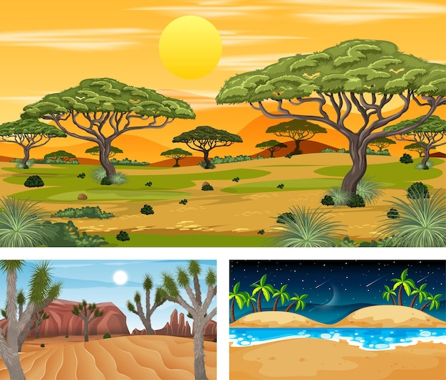 Tre diverse scene di paesaggi naturali