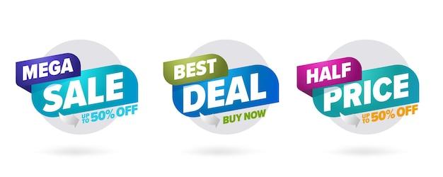 Modello tridimensionale mega vendita migliore affare metà prezzo. etichetta badge a colori con sconti fino al 50%