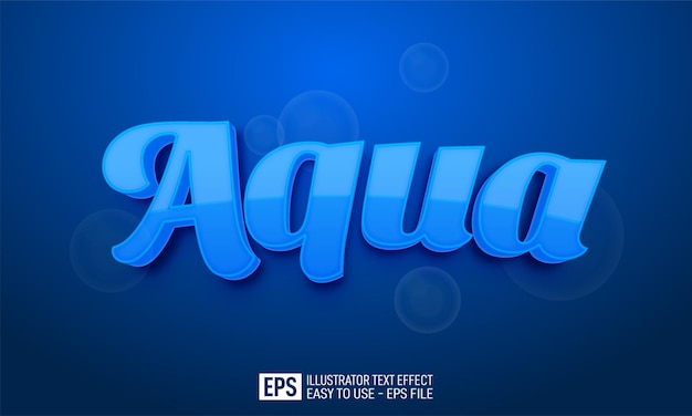 Testo tridimensionale aqua, modello di effetto stile modificabile