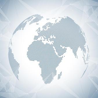 Pianeta astratto tridimensionale del fondo. comunicazione di fondo virtuale o composti di particelle. connessione di rete globale e plesso di linee. design caotico minimalista, illustrazione vettoriale.