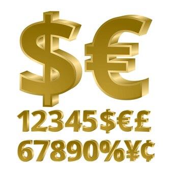 Valuta di figure dorate tridimensionali. carattere 3d. illustrazione vettoriale.