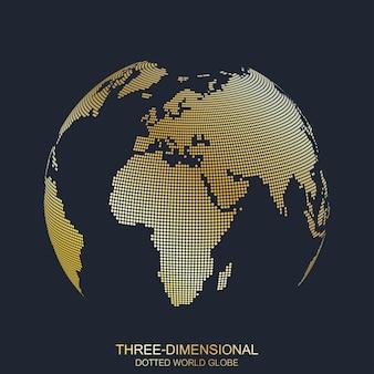 Pianeta tridimensionale. mappamondo punteggiato, design dorato. io