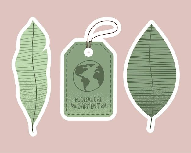 Tre icone di set di indumenti ecologici