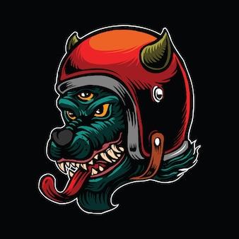 Il lupo dell'inferno con tre occhi indossa il casco