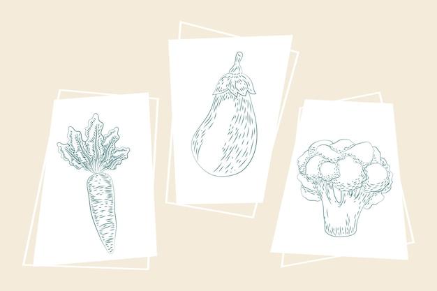 Tre icone di schizzo di prodotti freschi