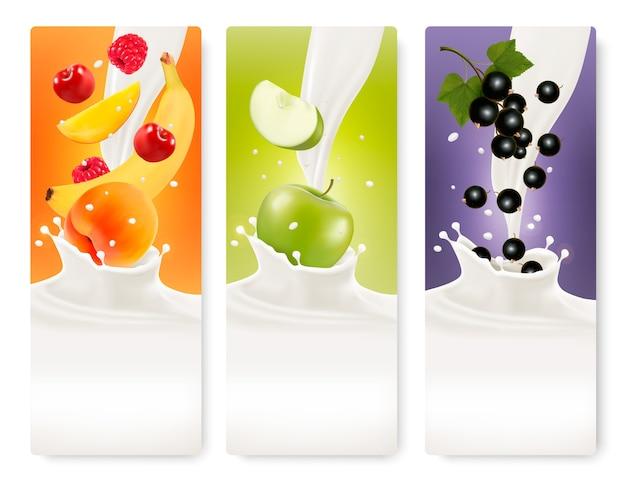 Tre bandiere di frutta e latte.