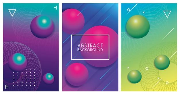 Tre sfondi astratti colorati geometrici