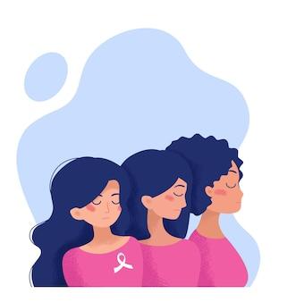 Tre ragazze in abiti rosa guardano dalla parte contro la violenza