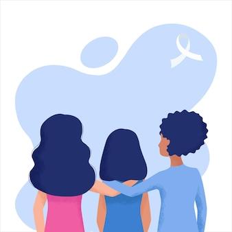 Tre ragazze stanno con la mano tesa davanti alla violenza