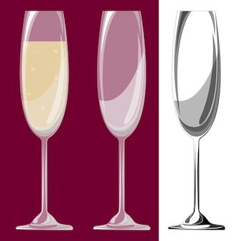 Tre bicchieri di champagne. illustrazione vettoriale. eps 10