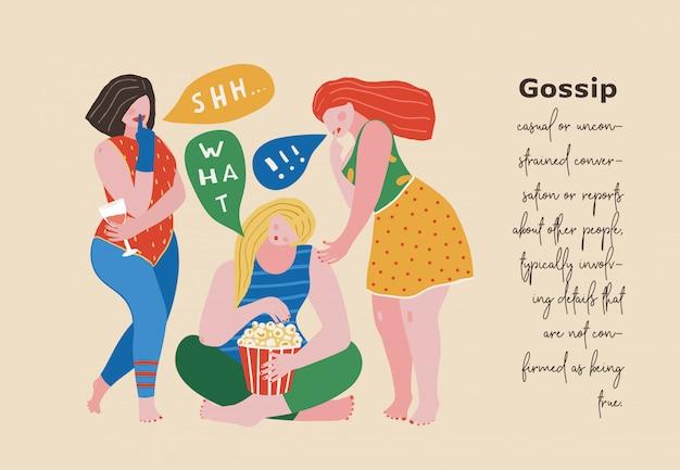 Illustrazione di scena urbana di tre ragazze di pettegolezzo, disegno di stampa di figure di blocchi di colore.