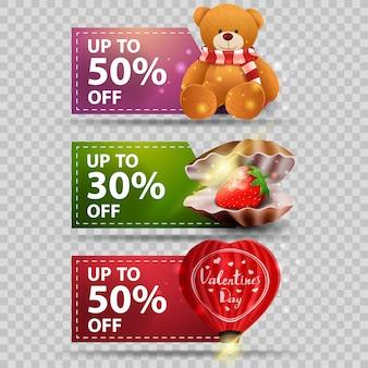 Tre banner di auguri per san valentino con guscio di perla, palloncino a forma di cuore e orsacchiotto