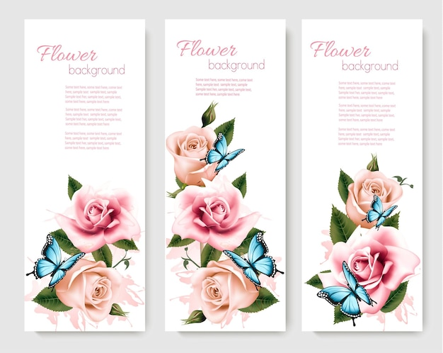 Tre biglietti di auguri con fiori e farfalle colorati. illustrazione vettoriale