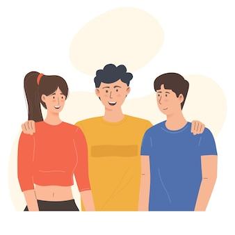 Tre amici felici nell'illustrazione di gruppo