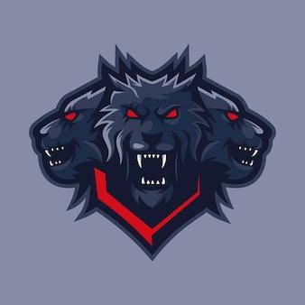 Disegno di marchio mascotte lupo a tre teste