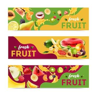 Tre banner di frutti orizzontali e realistici con titolo di frutta fresca