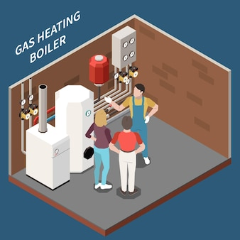 Tre caratteri isometrici nella stanza di riscaldamento con l'illustrazione 3d delle caldaie a gas