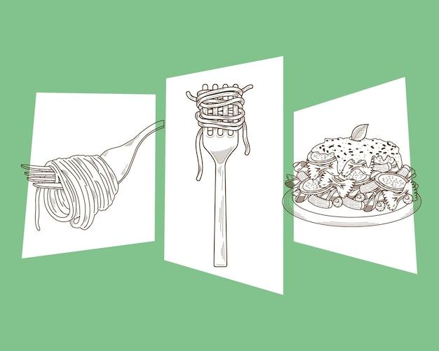 Menu di tre piatti di pasta italiana