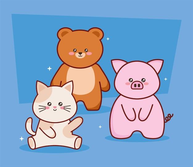 Tre personaggi di animali kawaii