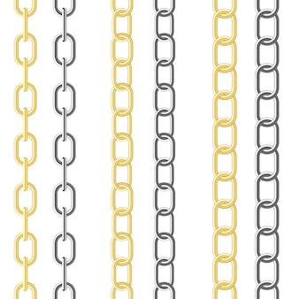 Tre tipi di catena diversa sul bianco