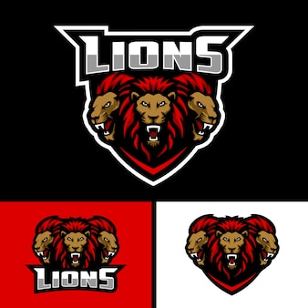 Logo della mascotte di tre teste di leone per lo sport e il logo della mascotte di e sport team.