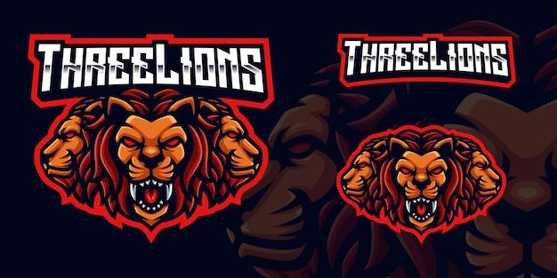 Logo della mascotte di gioco dei tre leoni per lo streamer e la community di esports