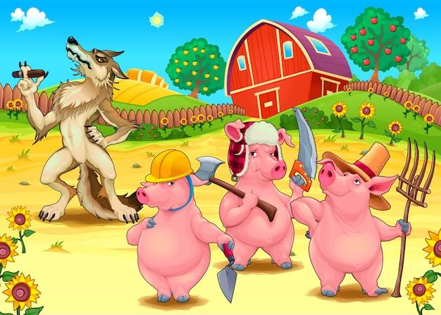 Tre piccoli maiali e cattivo lupo illustrazione di fata vettoriale fumetto