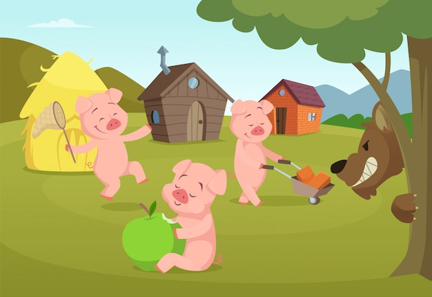Tre maialini vicino alle loro casette e lupo spaventoso. tre maiali e casa, storia da favola. illustrazione vettoriale