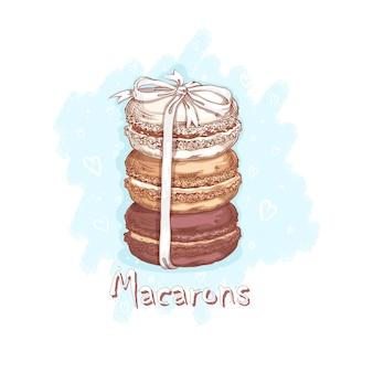 Tre macarons legati con un nastro bianco. dolci e dessert. disegno a mano abbozzato