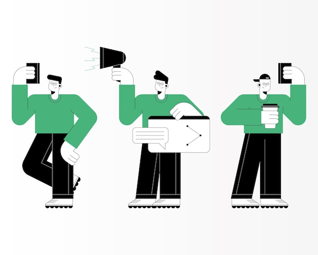 Tre uomini che usano personaggi tecnologici
