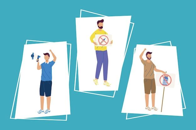 Set di icone per l'esitazione del vaccino di tre uomini