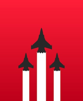 Tre jet da combattimento militari con scie bianche
