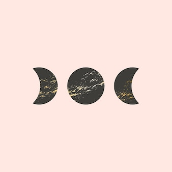 Illustrazione vettoriale di tre fasi lunari in stile boho