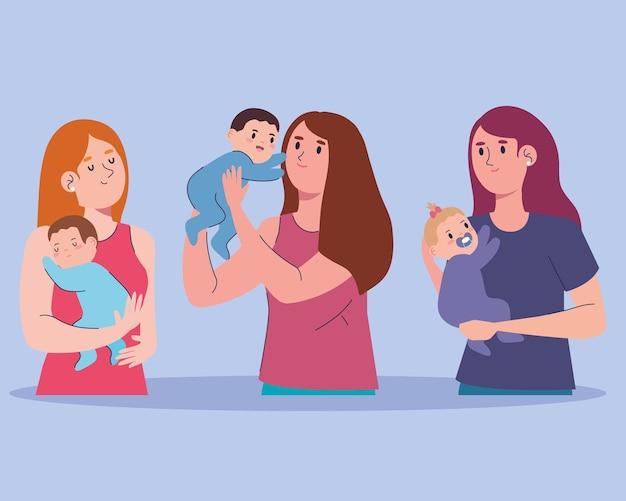 Set di caratteri di tre madri e bambini