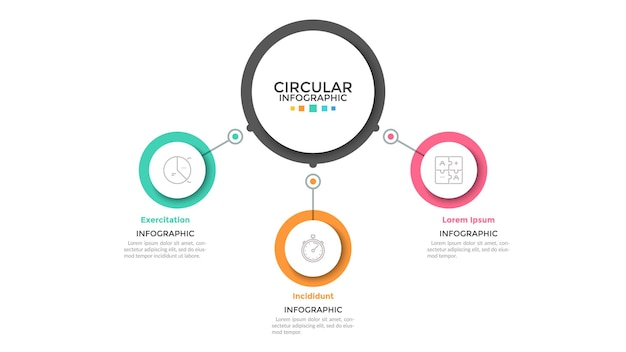 Tre cerchi multicolori collegati con l'elemento rotondo principale al centro, 3 caratteristiche del concetto di processo aziendale. modello di progettazione infografica minimalista. illustrazione vettoriale per presentazione, sito web.