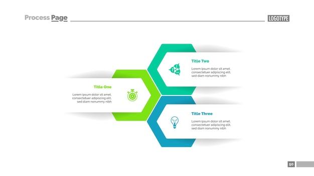 Modello di diapositiva piano a tre opzioni