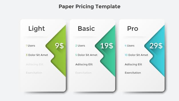 Tre piani tariffari o di abbonamento in carta bianca o elenchi con descrizione delle funzionalità e delle opzioni incluse. modello di progettazione infografica moderna. illustrazione vettoriale pulita per il sito web aziendale.