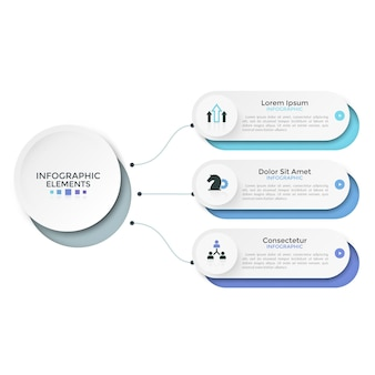 Tre opzioni o caratteristiche arrotondate di carta bianca collegate all'elemento circolare principale dalle linee. modello di progettazione infografica pulito. illustrazione vettoriale per la visualizzazione schematica di 3 fasi del progetto.