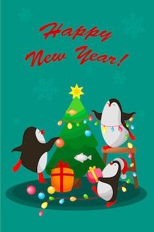 Tre pinguini decorano l'albero di natale. vettore, cartone animato, cartolina