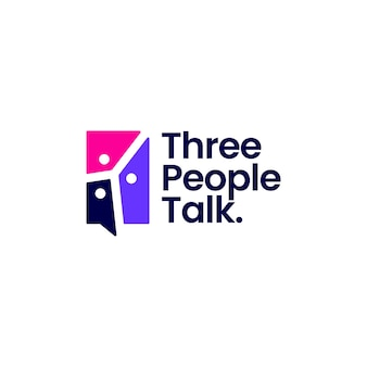 Tre persone parlano dell'icona di vettore del logo della conferenza di comunicazione della bolla di chat del gruppo 3