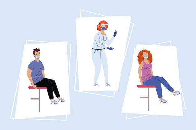 Personaggi del test covid di tre persone