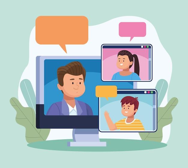 Tre persone in riunione virtuale