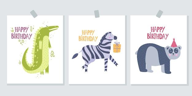Insieme della cartolina d'auguri di buon compleanno di tre pezzi. biglietto di auguri con coccodrillo.
